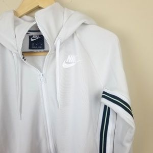 Nike | Green Striped Zip Hooded Jacket